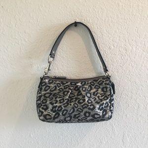 Coach Cheetah Print Purse - Silver/Black